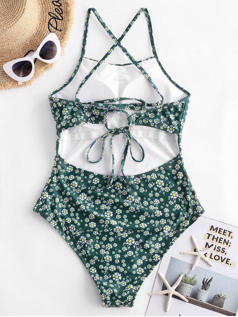fancy ZAFUL Lace-up Daisy Print One-piece Swimsuit - MEDIUM SEA GREEN M Mobile