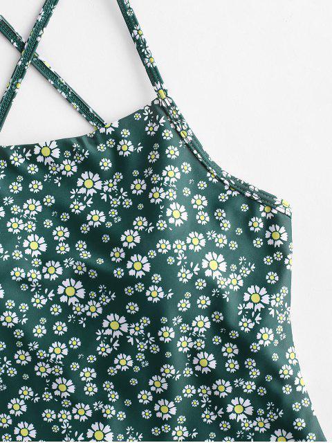 ZAFUL На шнуровке Цветочный принт Слитный Купальник - Средний морской зеленый S Mobile
