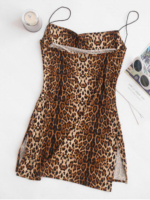 buy Snakeskin Leopard Print Slits Flared Cami Dress - MULTI L Mobile