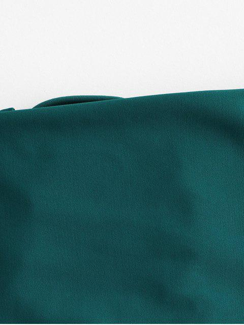 buy ZAFUL Lace-up Bandeau Bikini Top - PEACOCK BLUE M Mobile