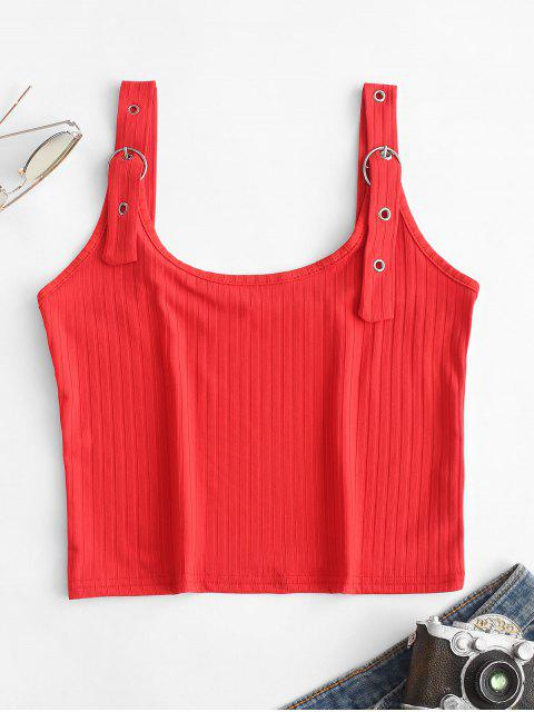 women O-ring Ribbed Crop Tank Top - RED M Mobile