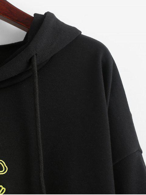 Sudadera con capucha y cordón bordado de dragón - Negro M Mobile