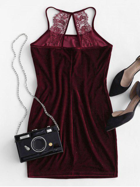 women ZAFUL Velvet Lace Insert Cutout Bodycon Dress - RED WINE XL Mobile