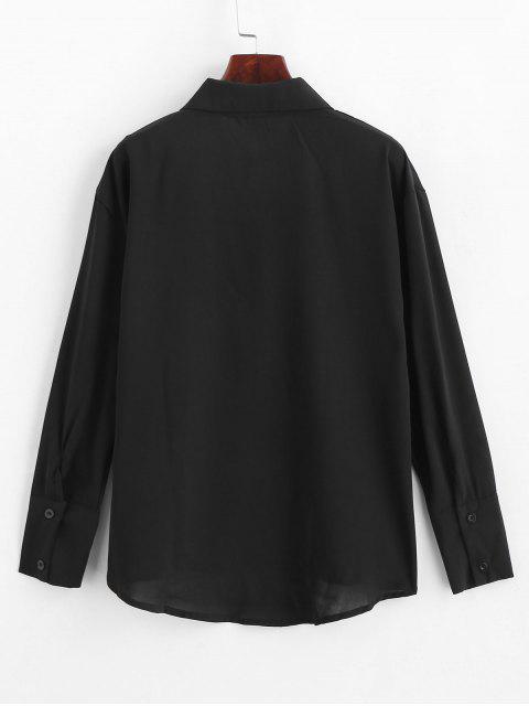 Camisa gargantilla con bolsillo delantero - Negro  XL Mobile