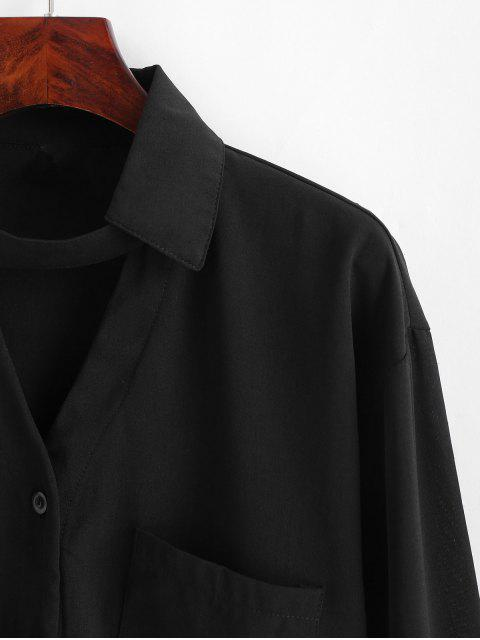 Camisa gargantilla con bolsillo delantero - Negro  M Mobile
