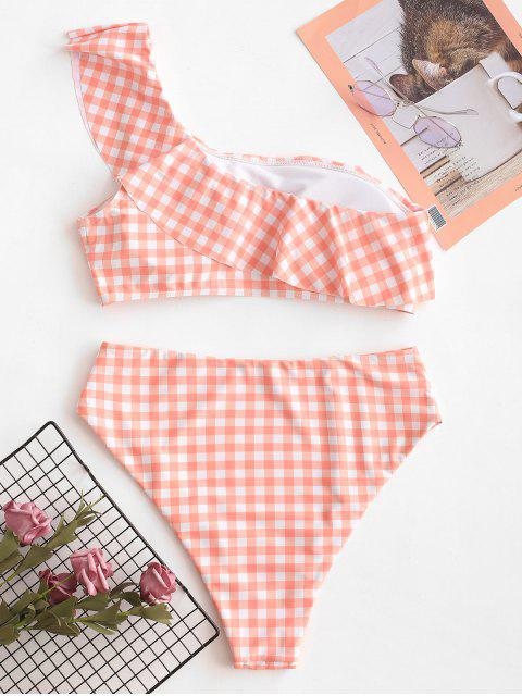 hot ZAFUL Plaid One Shoulder High Cut Flounce Tankini Swimsuit - LIGHT SALMON XL Mobile