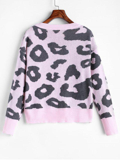 outfit Leopard Drop Shoulder Pullover Sweater - DEEP PEACH S Mobile