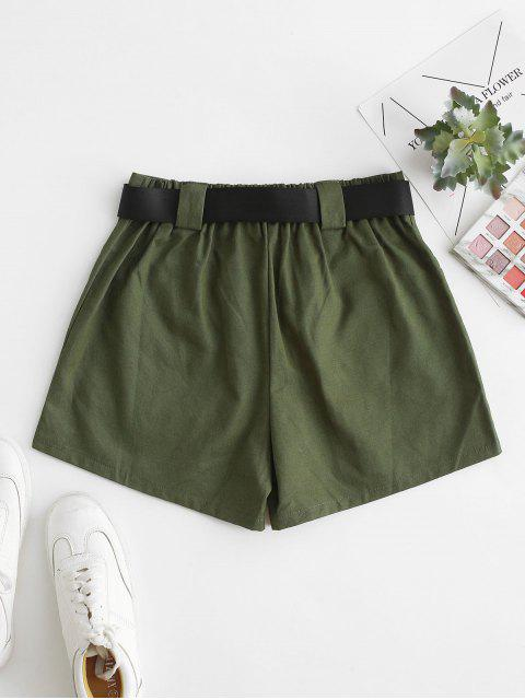 buy High Waisted D Ring Flap Pocket Shorts - GREEN XL Mobile
