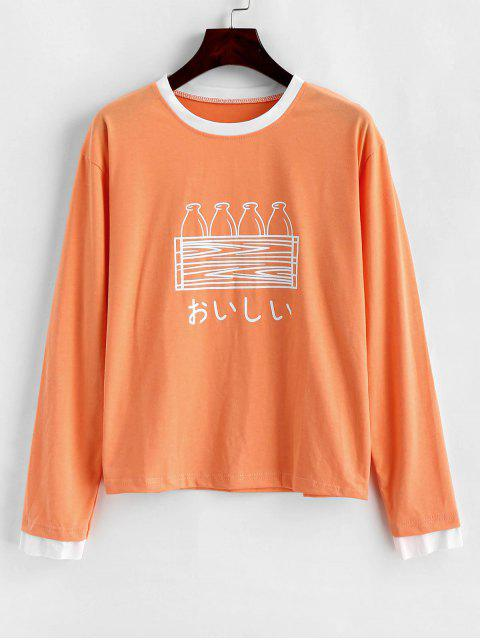 affordable Bottle Graphic Long Sleeve Ringer Top - MANGO ORANGE XL Mobile