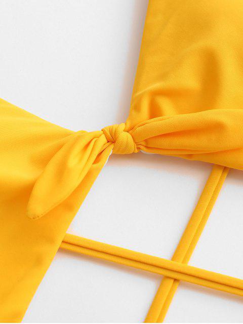 ZAFUL С вырезом С бантом Перекрестные шнурки Слитный Купальник - Жёлтый L Mobile