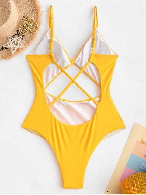 best ZAFUL Cutout Knotted Criss Cross One-piece Swimsuit - YELLOW XL Mobile