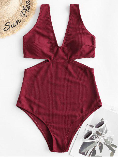 womens ZAFUL Ribbed Cutout One-piece Swimsuit - RED WINE L Mobile