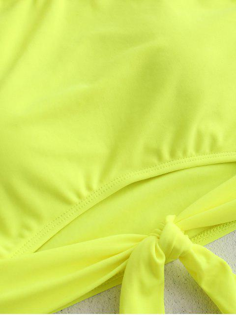 Bañador Tankini fruncido con dobladillo anudado ZAFUL - Verde Amarillo 2XL Mobile