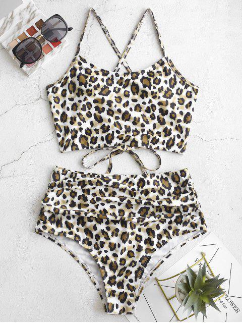 Bañador Tankini fruncido con cordones de leopardo ZAFUL - Multicolor-A S Mobile