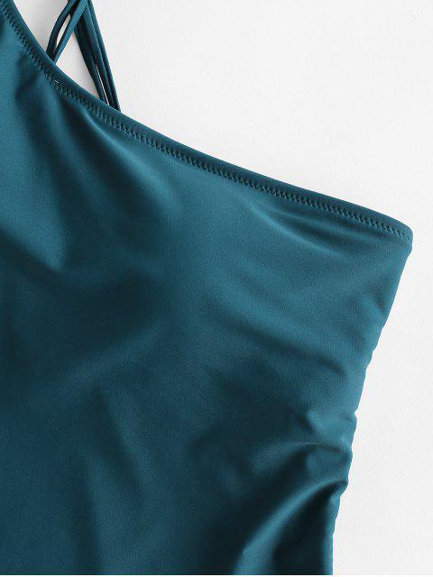 ZAFUL編織繫帶單肩連體泳衣 - 孔雀藍 S Mobile