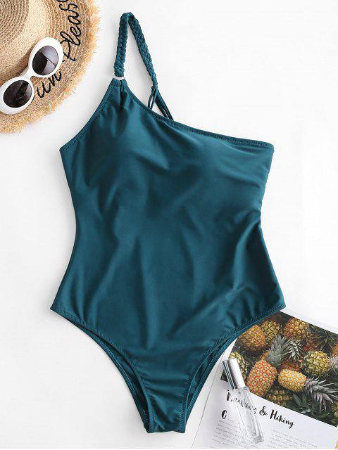 ZAFUL編織繫帶單肩連體泳衣 - 孔雀藍 L Mobile