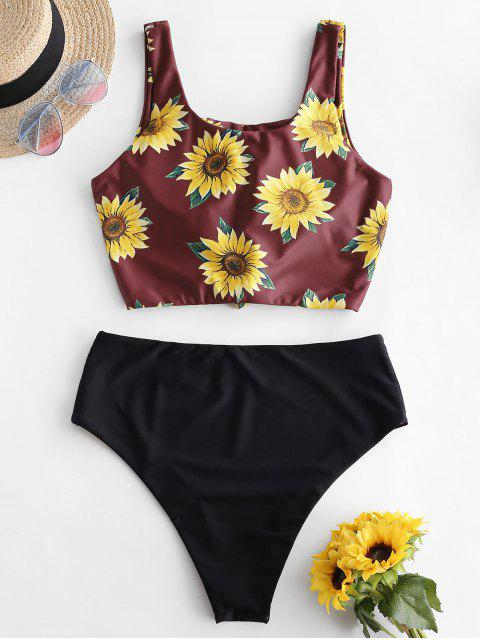 ZAFUL Sunflower Knot Reversible Tankini traje de baño - Negro XL Mobile
