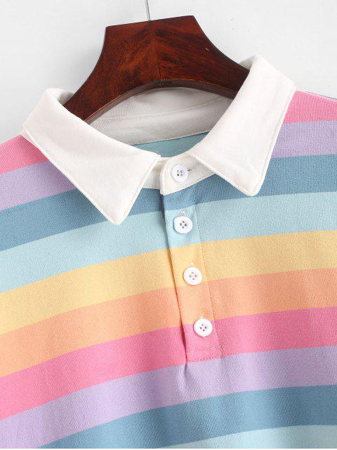 womens Contrast Striped Rainbow Half Button Crop Sweatshirt - MULTI XL Mobile