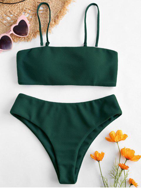 ZAFUL Bikini Bandeau con Textura - Mar Verde Mediana S Mobile