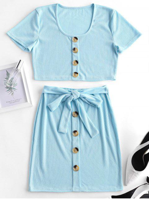 trendy Ribbed Button Embellished Belted Skirt Set - JEANS BLUE L Mobile