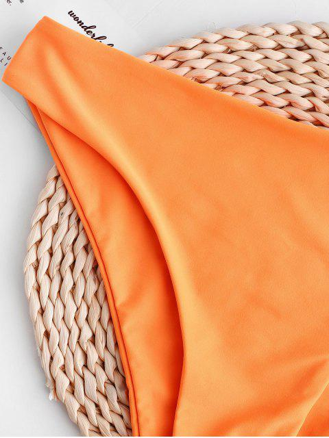 women's ZAFUL Mid-rise Basic Bikini Bottom - DARK ORANGE M Mobile