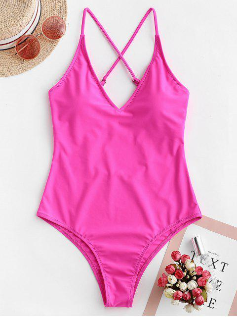 new ZAFUL Criss Cross Basic One-piece Swimsuit - ROSE RED M Mobile