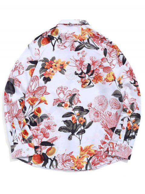 latest Flower Allover Print Long Sleeve Beach Vacation Shirt - WHITE XL Mobile