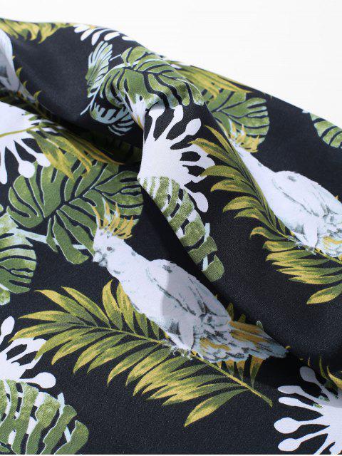 Flor de la planta del loro tropical de la impresión de manga larga ocasional de la camisa de vacaciones - Negro L Mobile
