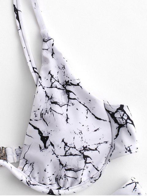 fashion ZAFUL Marble Print Underwire High Cut Bikini Swimsuit - WHITE M Mobile