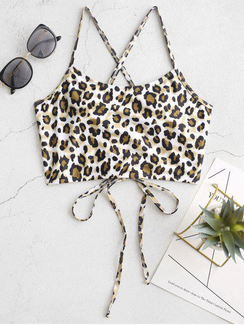 ZAFUL Entrecruzamento Lace-up Leopard Bikini Top - Multi-A	 S Mobile