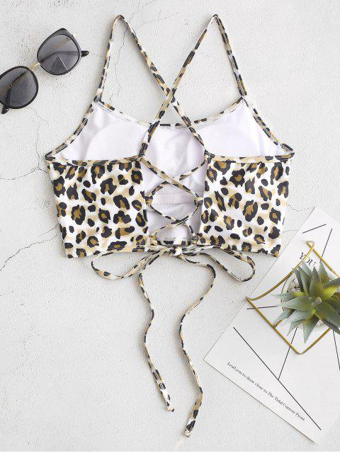 women's ZAFUL Crisscross Lace-up Leopard Bikini Top - MULTI-A M Mobile
