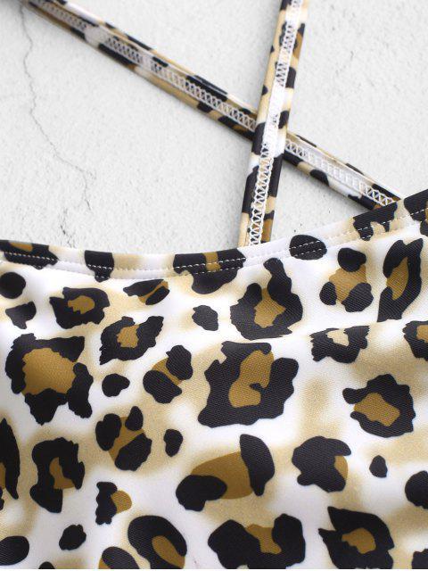 Bikini Top Incrociato Leopardato con Lacci di ZAFUL - Multi Colori-A L Mobile