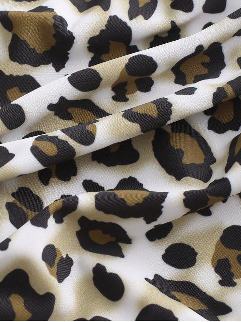 shops ZAFUL Ruched Full Coverage Leopard Bikini Bottom - MULTI-A L Mobile