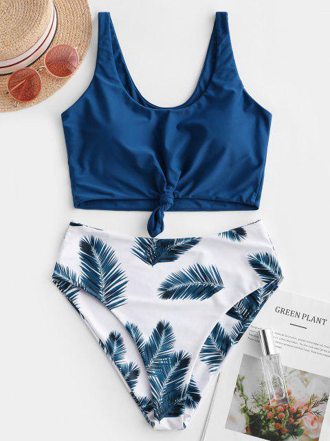 sale ZAFUL Leaf Print Knot Mix and Match Tankini Swimsuit - LAPIS BLUE L Mobile