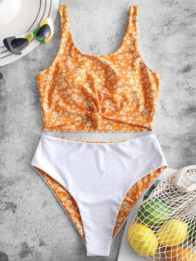 ZAFUL Daisy Print Knot Reversible Tankini Swimsuit