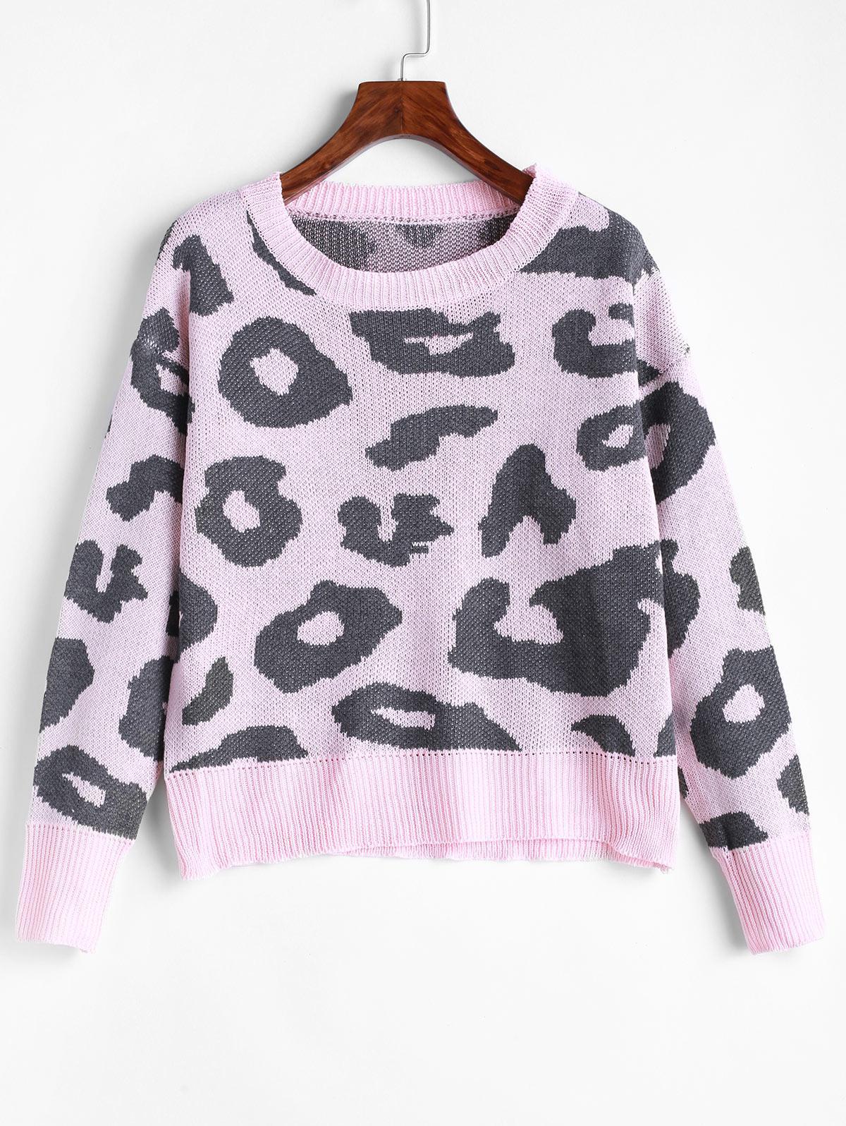 Leopard Drop Shoulder Pullover Sweater