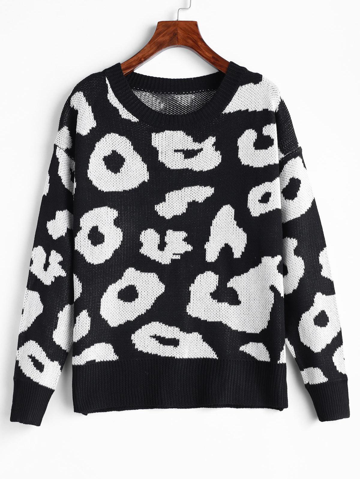 Leopard Drop Shoulder Pullover Sweater фото
