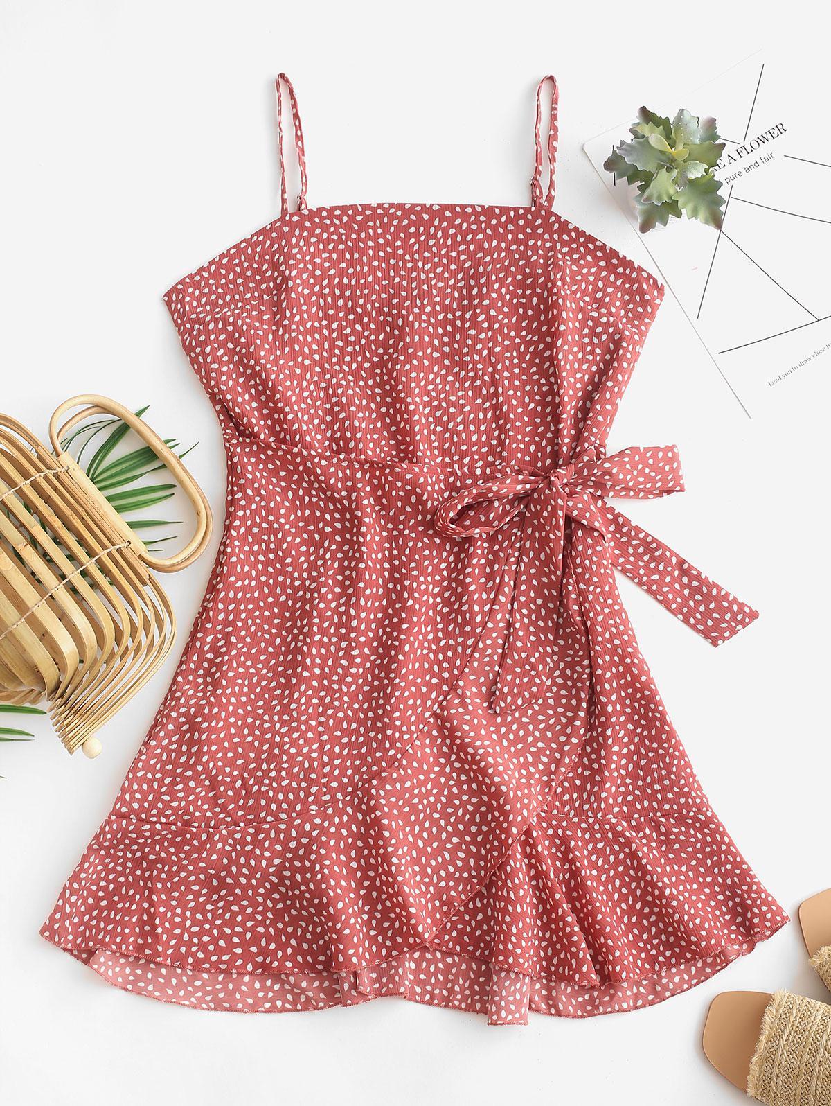 Overlap Ruffles Raindrop Print Cami Dress thumbnail