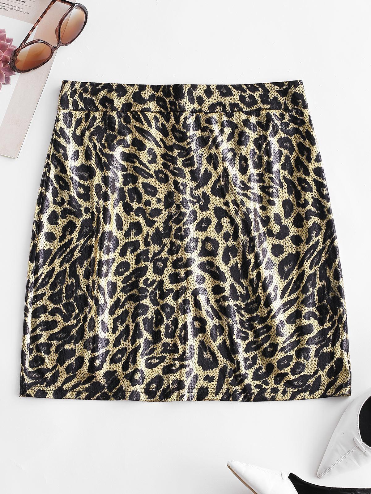 ZAFUL Snakeskin Bodycon Mini Skirt