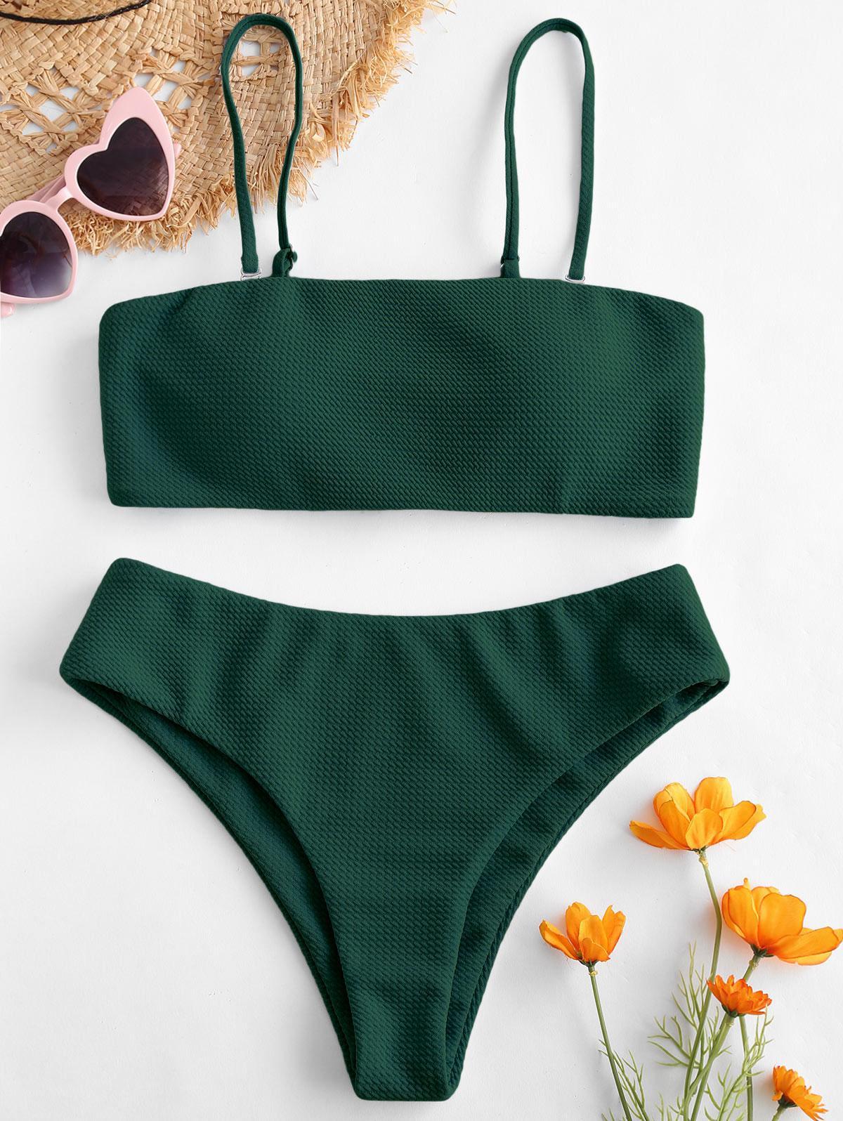 ZAFUL Textured Bandeau Bikini Set thumbnail