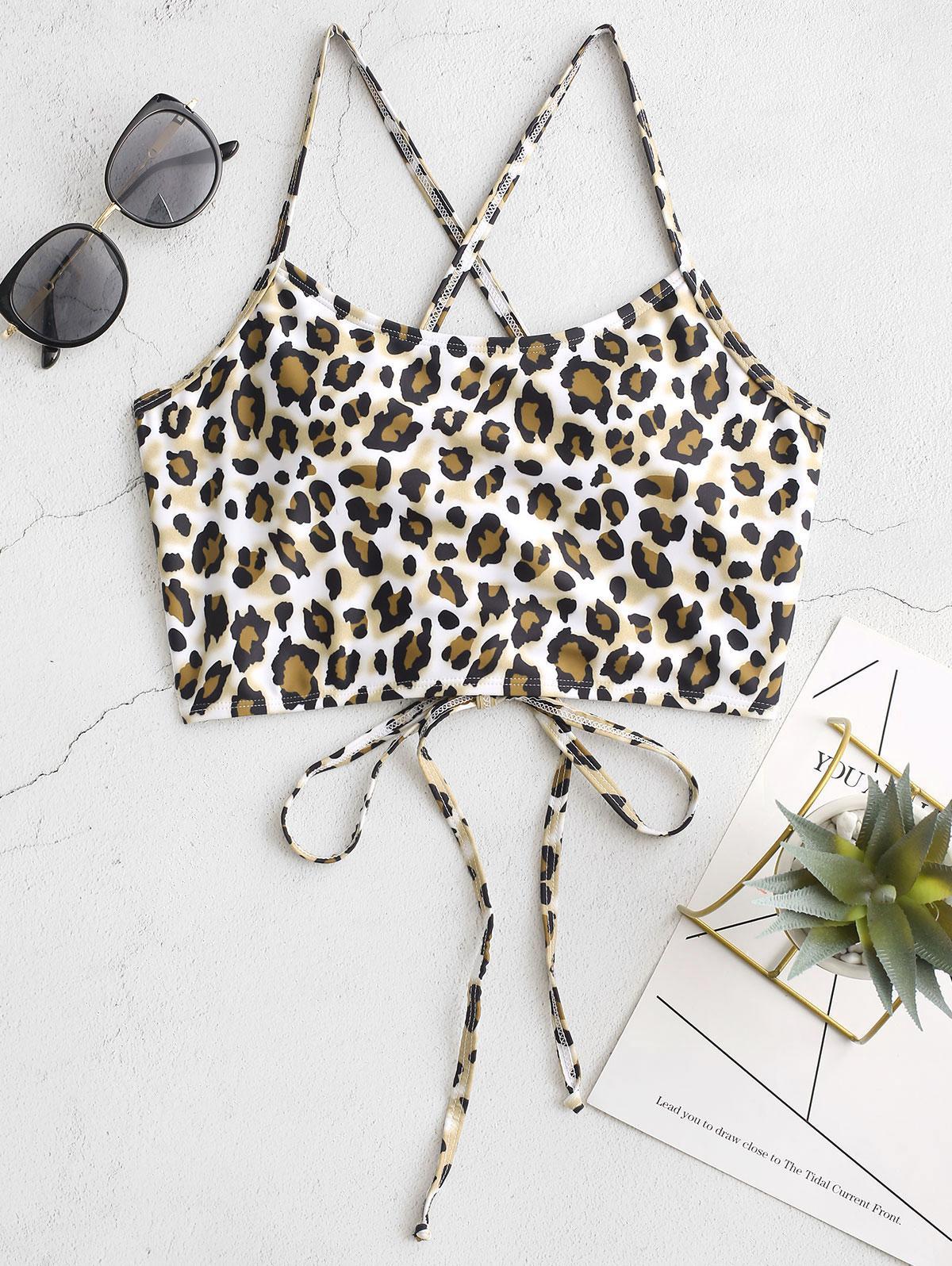 ZAFUL Crisscross Lace-up Leopard Bikini Top фото