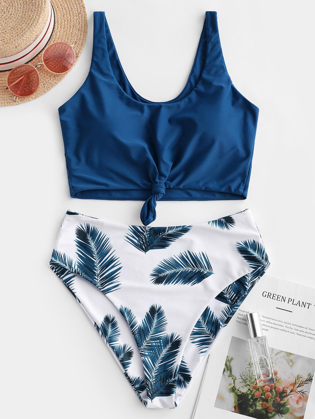 ZAFUL Leaf Print Knot Mix and Match Tankini Swimsuit, Lapis blue