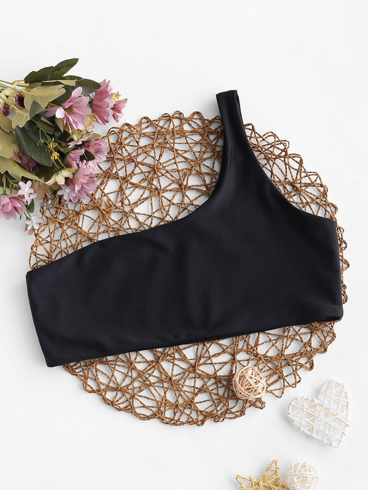 Zaful coupon: ZAFUL Solid No-padding One Shoulder Bikini Top