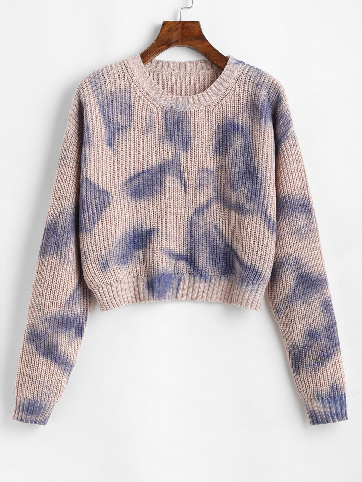 ZAFUL Pullover Drop Shoulder Contrast Graphic Sweater