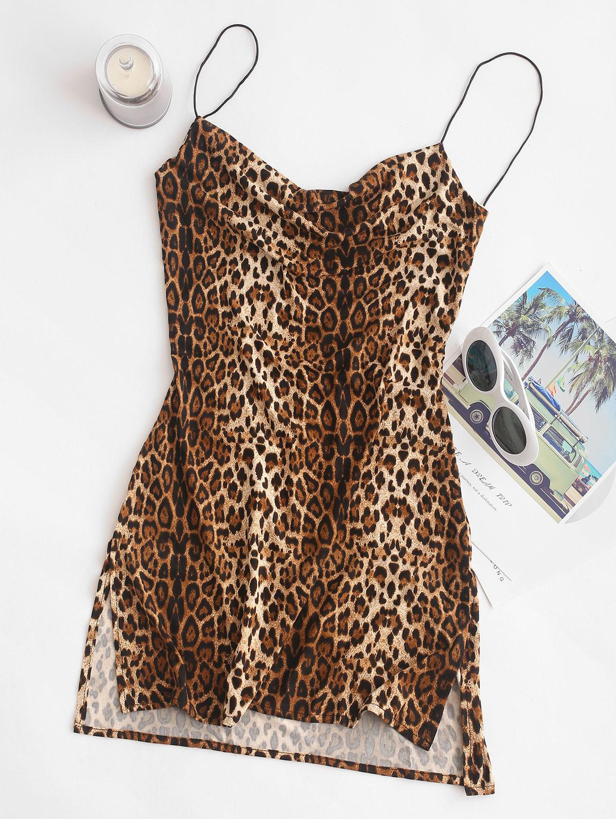 Snakeskin Leopard Print Slits Flared Cami Dress