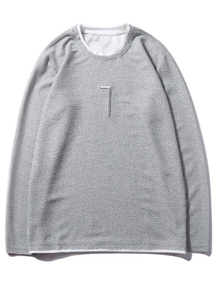 Solid Seven Embroidery Color Block Ringer Sweatshirt фото