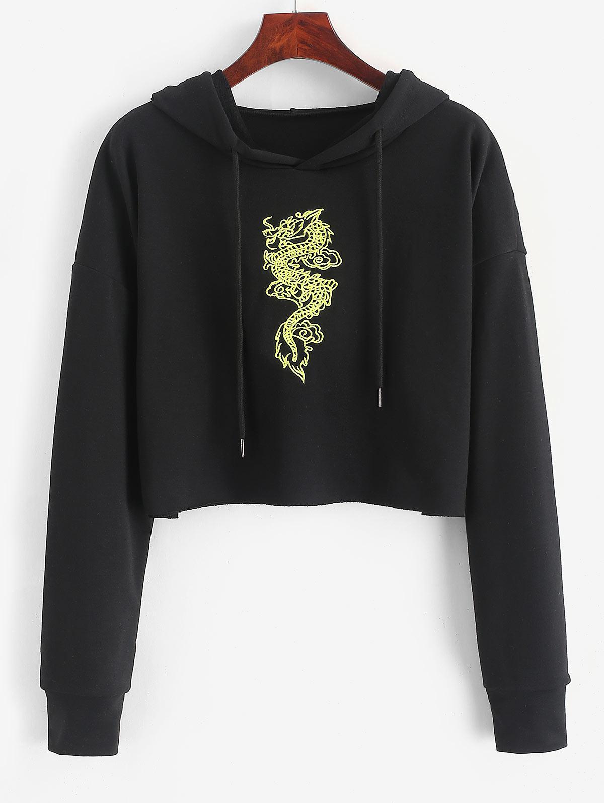 Dragon Embroidered Crop Drawstring Hoodie thumbnail