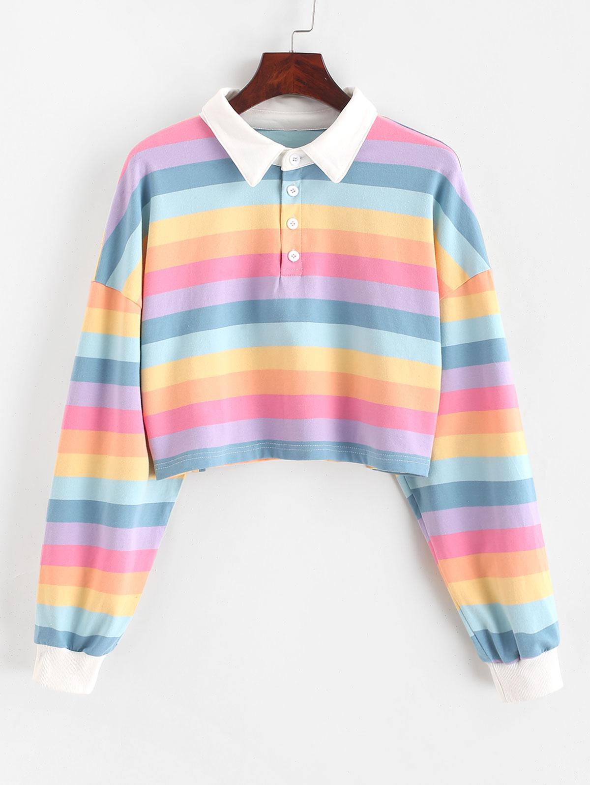 Contrast Striped Rainbow Half Button Crop Sweatshirt