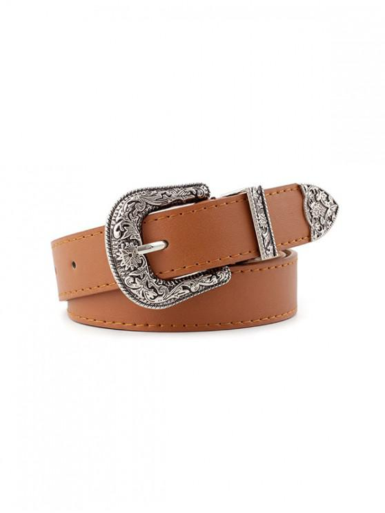 women Vintage Faux Leather Engraved Belt - TIGER ORANGE