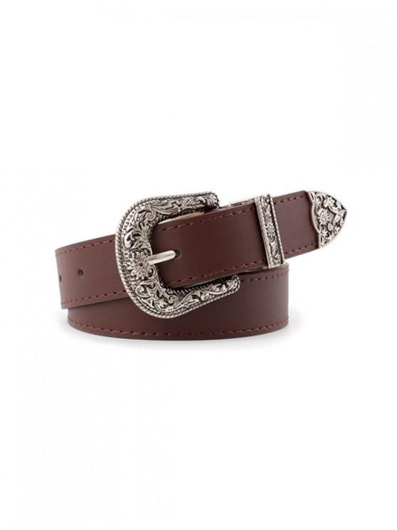 best Vintage Faux Leather Engraved Belt - DEEP COFFEE